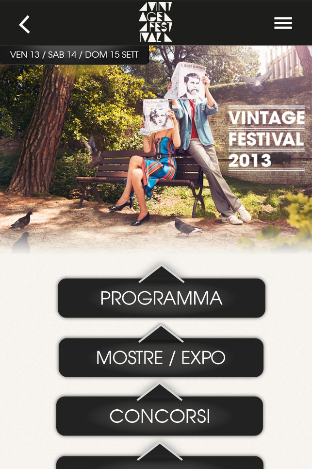 vintage festival app home screen
