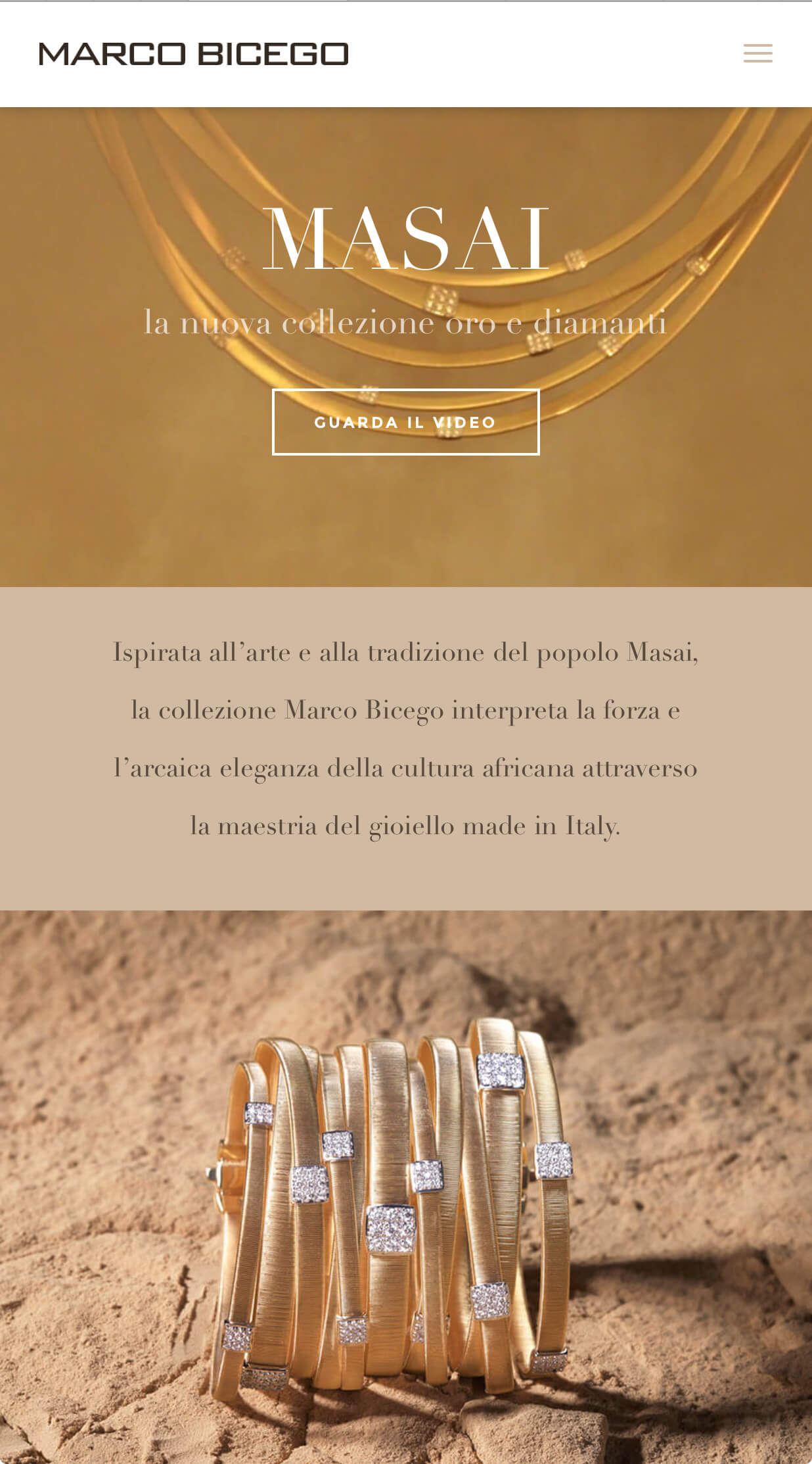 marco bicego masai landing page mobile website